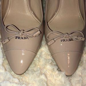 Prada Shoes - PRADA 75 mm Bow Pointed Pumps Cream Size 8.5 NWT
